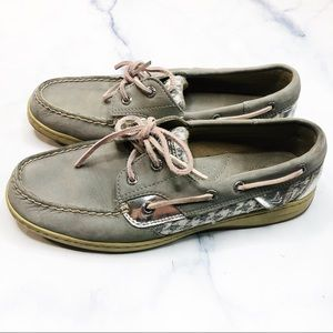 Sperry Grey Silver Bluefish Slip On Boat Shoes